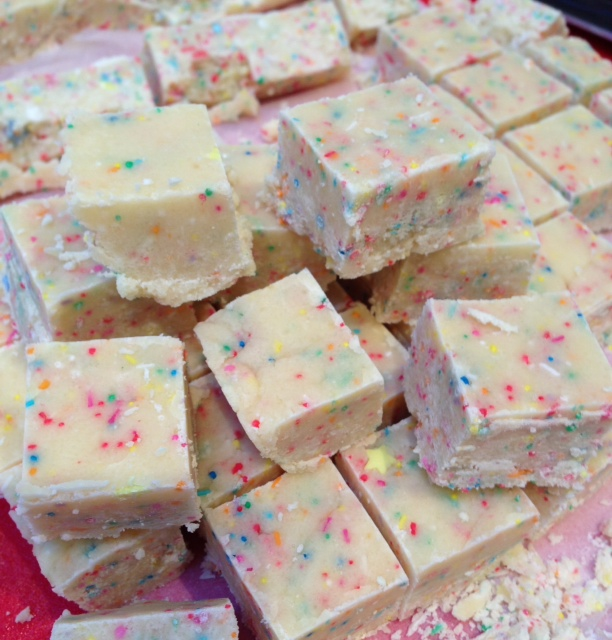 Cake Batter Fudge With White Chocolate Chips