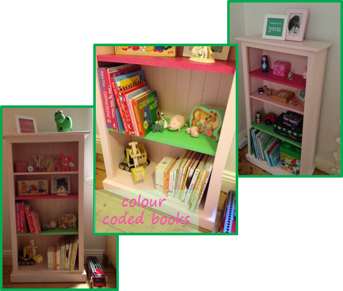 little girl room - colour coded books digger fire truck.jpg