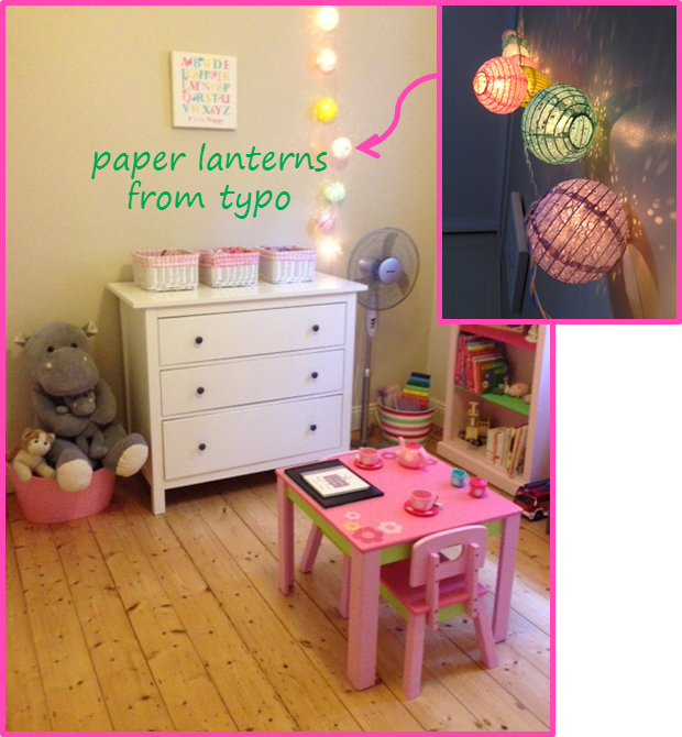 little girl room - typo paper lanterns