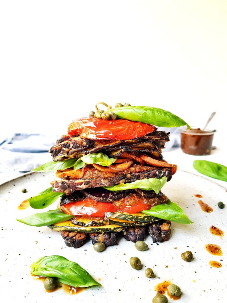 18 of 31 adzuki bean tempeh and vegetable stack