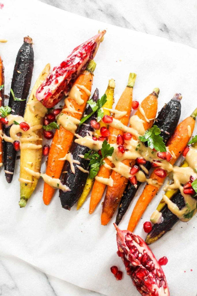 27 of 31 whole roasted carrots with maple tahini